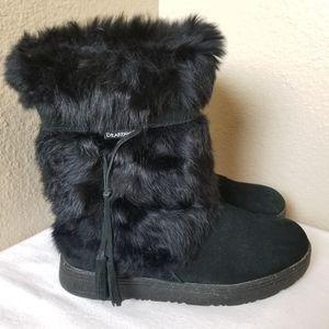 Bearpaw Sonja II Black Fur Suede Boots Size 9